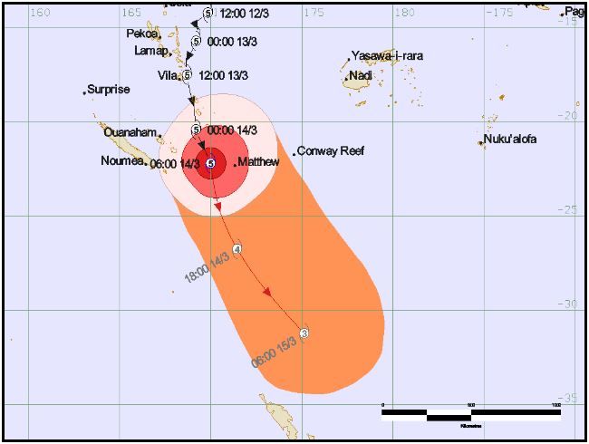 TC Pam track map issued by RSMC Nadi issued at 9pm