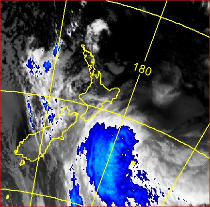 Infra red satellite image from midnight.
