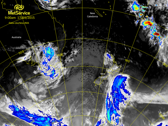 An enhanced infra-red satellite image from Tuesday at 9am New Zealand time showing Cyclone Pam to the east of the country.