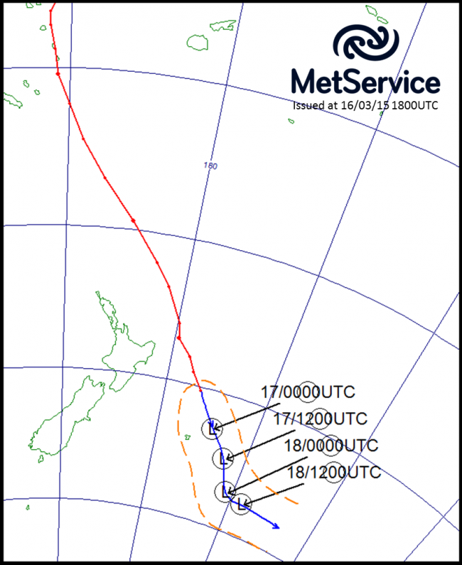 The historical track of Cyclone Pam (red line) and its forecast track (blue line) with forecast positions marked as circled L's in universal coordinated time (NZST = UTC +13 hours)