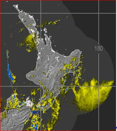 Rain radar at midnight showing that the main rainband has pulled away from the North Island
