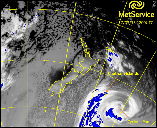 Enhanced infra-red satellite image from Wednesday at 1am New Zealand time showing Cyclone Pam to the southeast of the Chatham Islands.