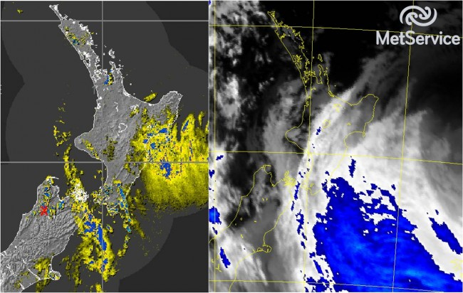 Radar image(left) and IR satellite image (right) at 6:30 pm today
