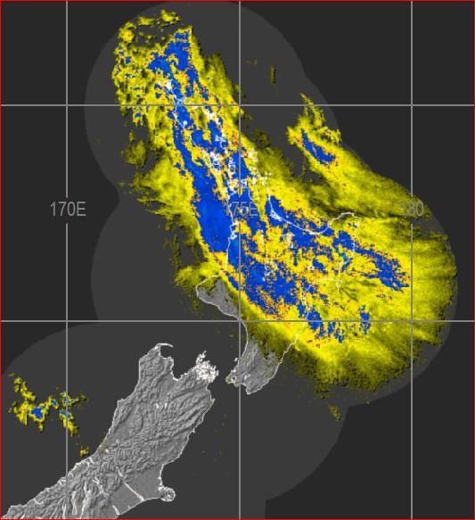 Rain radar at 11pm Sunday
