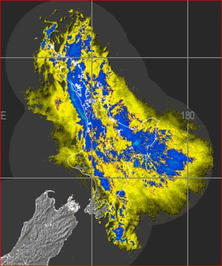 Rain radar image from 3:30am Monday