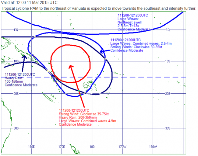 Part of the Southwest Pacific Guidance set produced each day by Lead forecasters at MetService. This chart is valid at 1am on Thursday 12th March.
