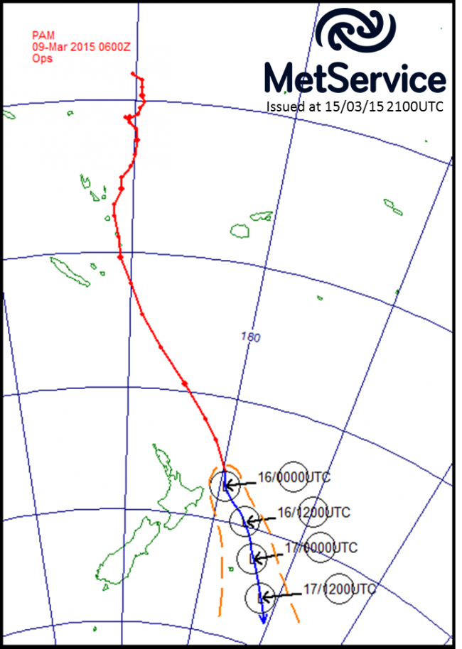 The historical track of Cyclone Pam (red line) and its forecast track (blue line) with forecast positions marked as circled L's in universal coordinated time (NZST = UTC +13 hours).