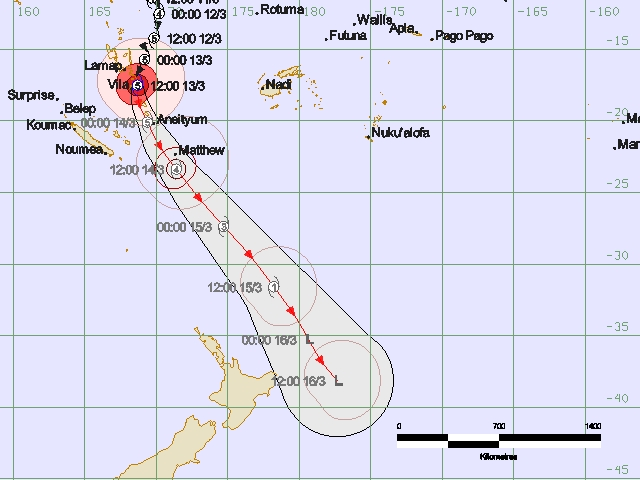TC Pam track map issued by RSMC Nadi 2.24am 14th March 2015