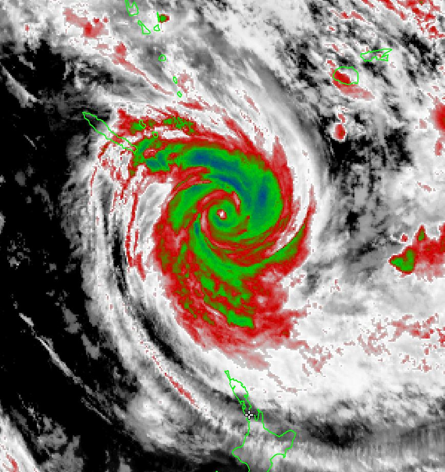 Infrared satellite image of tropical cyclone Pam, 3.44am Sun 15th March 2015