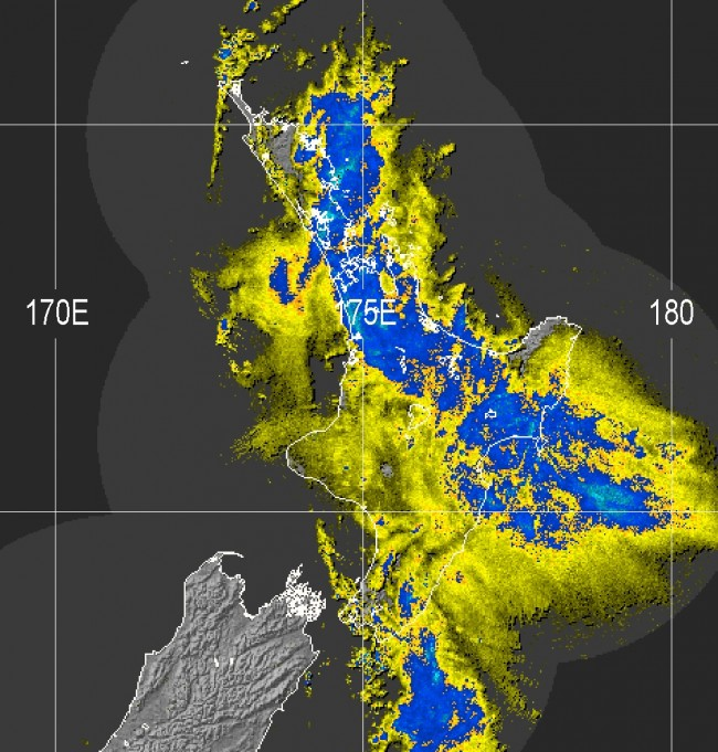 Rain radar image from 6:51am Monday