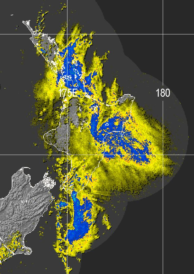 A radar image from 9:51am this morning clearly showing the rain falling into eastern and northern parts of the North Island, while western parts are sheltered.
