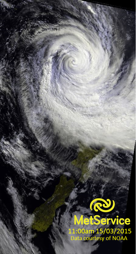 Visible satellite image of tropical cyclone Pam (left).