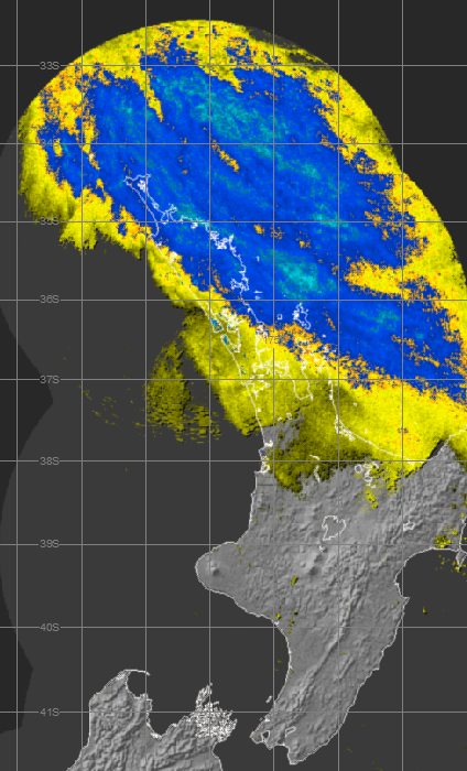 Rain radar (right) at 3pm Sunday 15 March 2015.