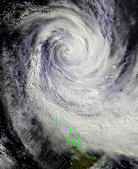 TC Pam to the north of New Zealand at 11am this morning.