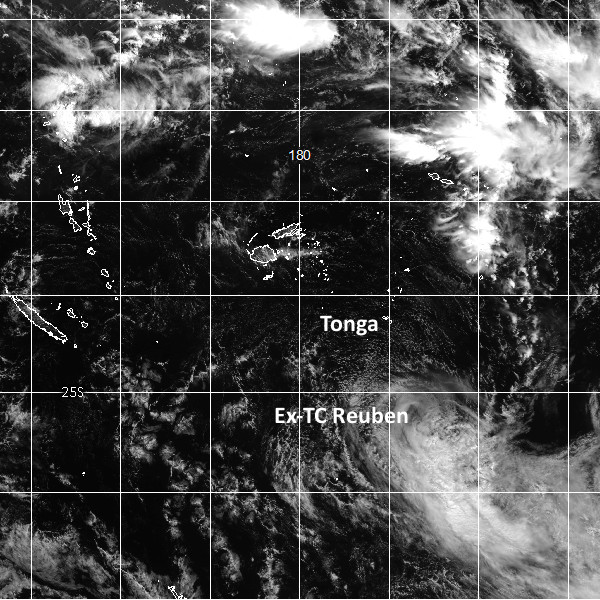 Visible satellite image of ex-TC Reuben at midday NZDT. (image courtesy JMA)