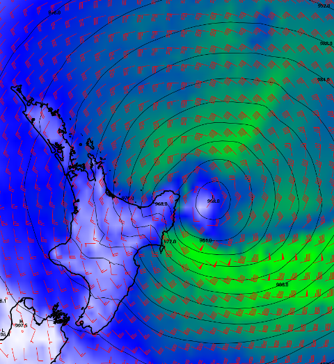 ECMWF model showing the low centre to the east of the north island at midday Monday 16 March.