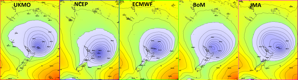 An updated selection of different global models showing mean sea level pressure for 1pm NZDT on Monday 16th March. Pressures lower than 1000hPa have been coloured blue.