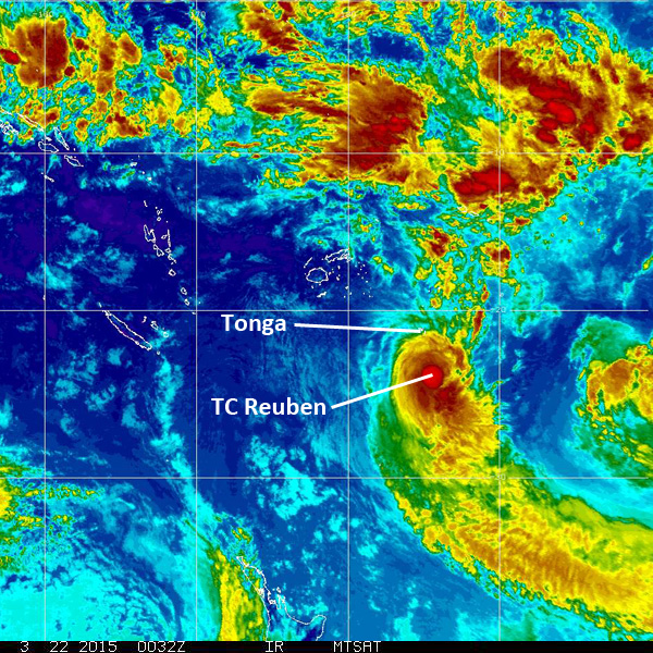 Satellite image from 1:30pm NZDT today (Sunday 22nd March) showing the location of TC Reuben. (MTSAT image via NOAA)