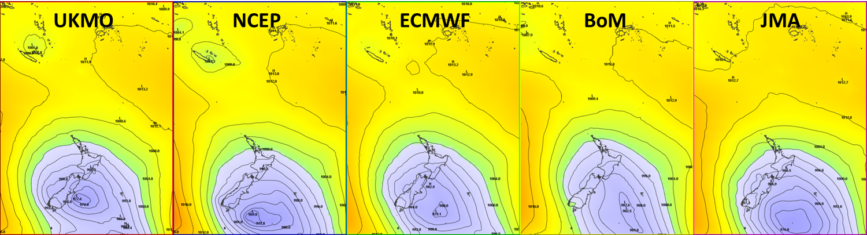 Multi-model comparison midday Monday 13 April