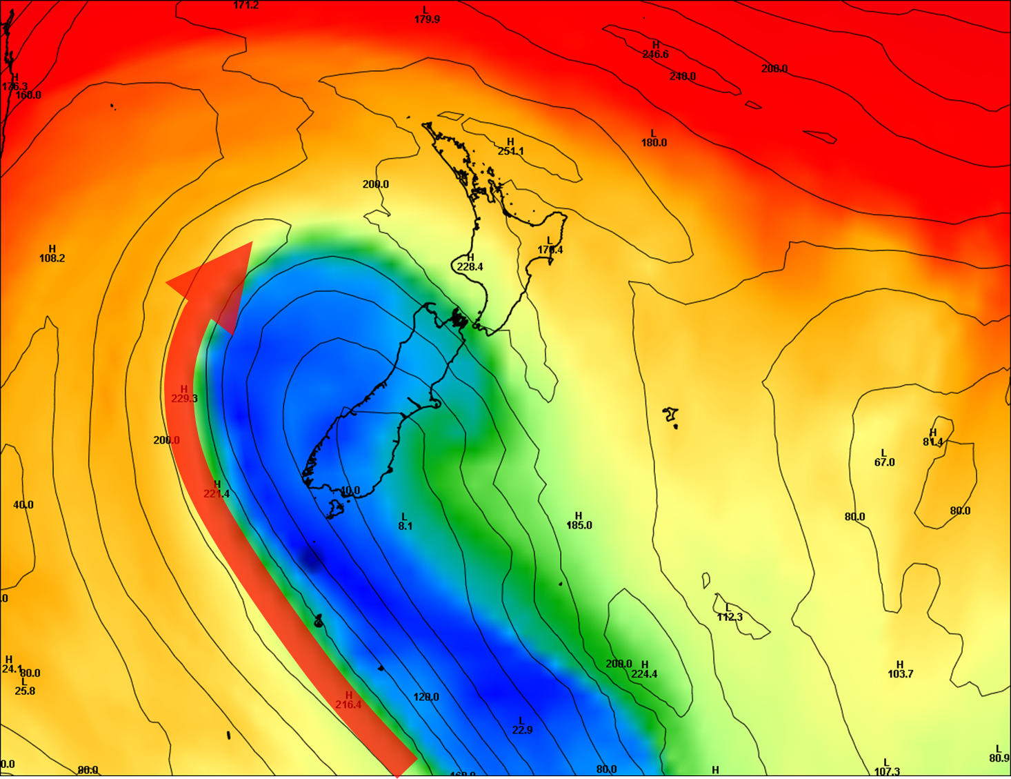 Polar jet location midday Monday 13 April