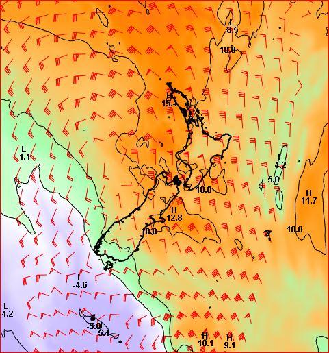 Forecast temperature at 1500 metres at noon Monday