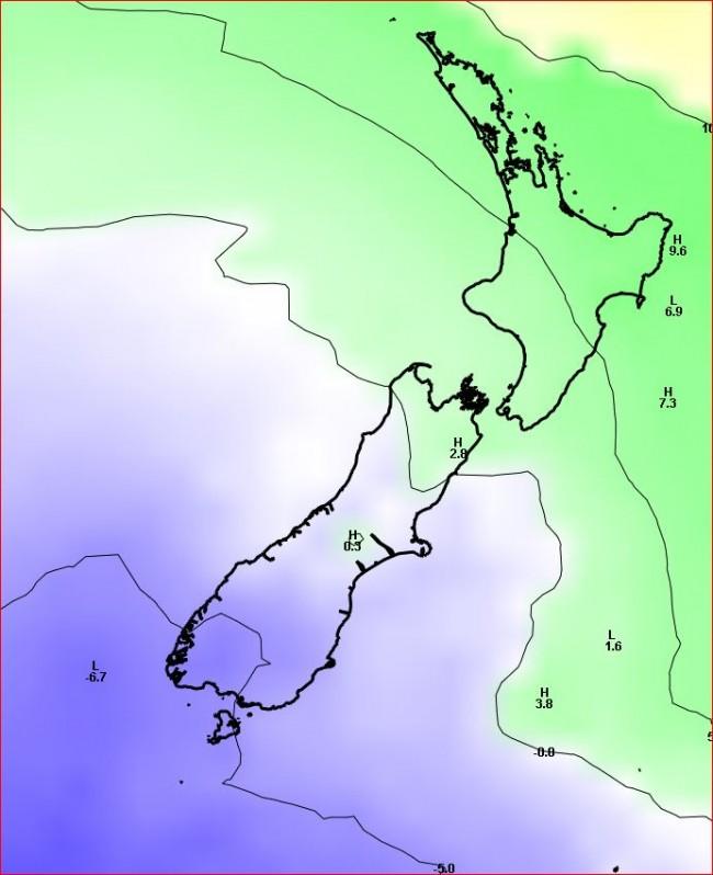 Forecast temperature at 1500 metres above sea level