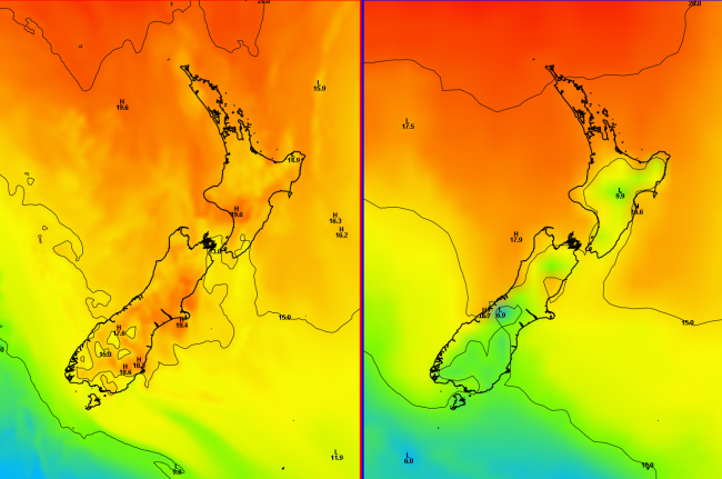 Surface temperatures (degrees C) for midday on Monday 27th April 2015. The ECMWF forecast is on the left and the UK Met Office model is on the right.