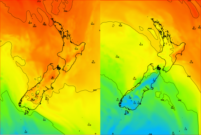Surface temperatures (degrees C) for midday on Monday 27th (left) and Tuesday 28th (right) April 2015 from the ECMWF model.