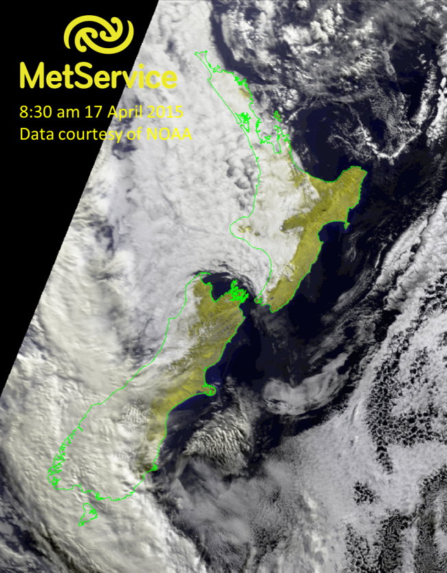 False or natural colour RGB image at 8:30 am NZST on 17 April 2015, courtesy of NOAA