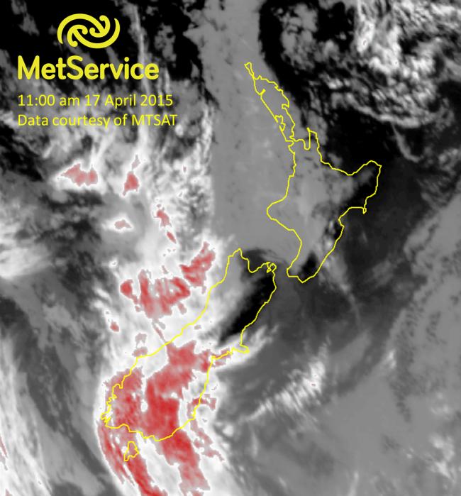 Infrared satellite image at 11:00 am NZST on 17 April 2015, courtesy of MTSAT