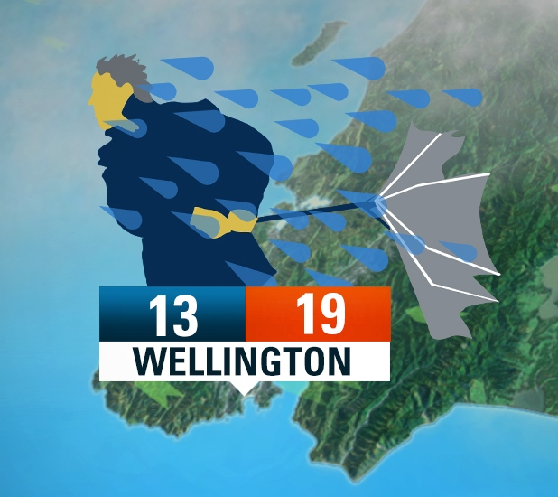 "MetService ""sideways rain"" weather icon produced for a previous Wellington forecast"