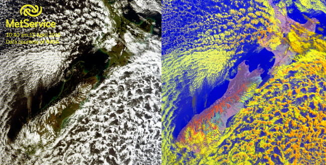 True colour (left) and snow (right) RGB images at 10:40 am NZST on 15 April 2015, courtesy of NASA MODIS. Snow is shown as red and clouds are yellow and orange.