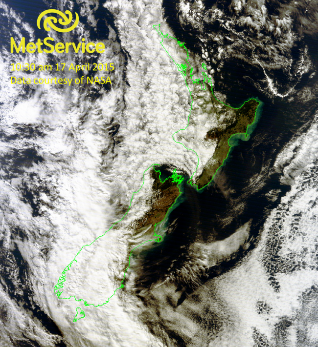 True colour RGB image at 10:30 am NZST on 17 April 2015, courtesy of NASA MODIS