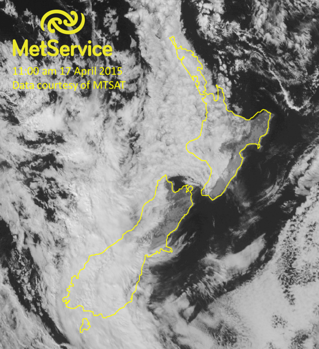 Visible satellite image at 11:00 am NZST on 17 April 2015, courtesy of MTSAT. The thicker the cloud, the more visible light is reflected back to the satellite, and the brighter it will appear on the image. Thinner clouds do not reflect as much so will appear a lighter grey.