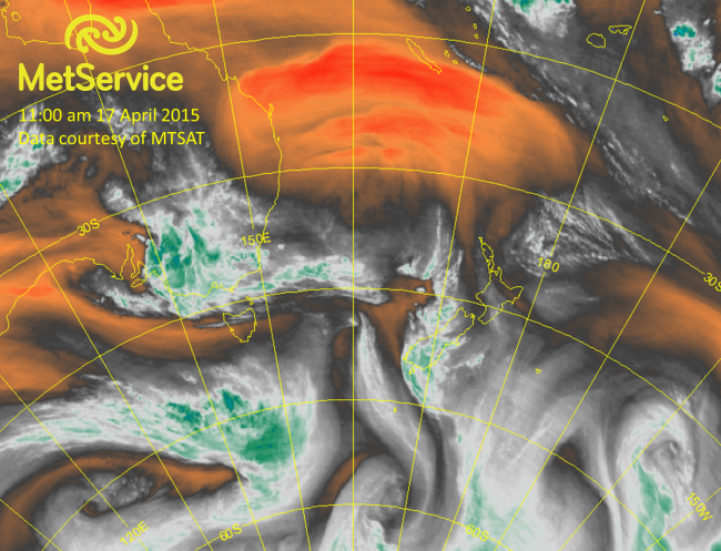 Water vapour satellite image at 11:00 am NZST on 17 April 2015, courtesy of MTSAT. Clouds and other areas of high mid- and upper level moisture are depicted as white and green, while dry areas aloft are shown as orange and red.