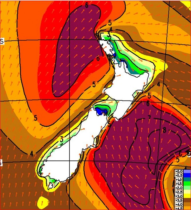 Forecast wave heights at noon on Tuesday, courtesy of ECMWF