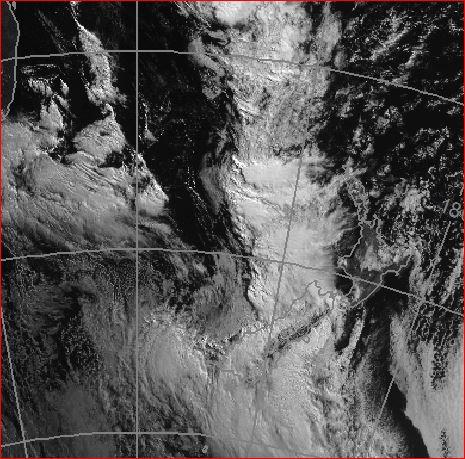 Visible satellite image at 10am Sunday