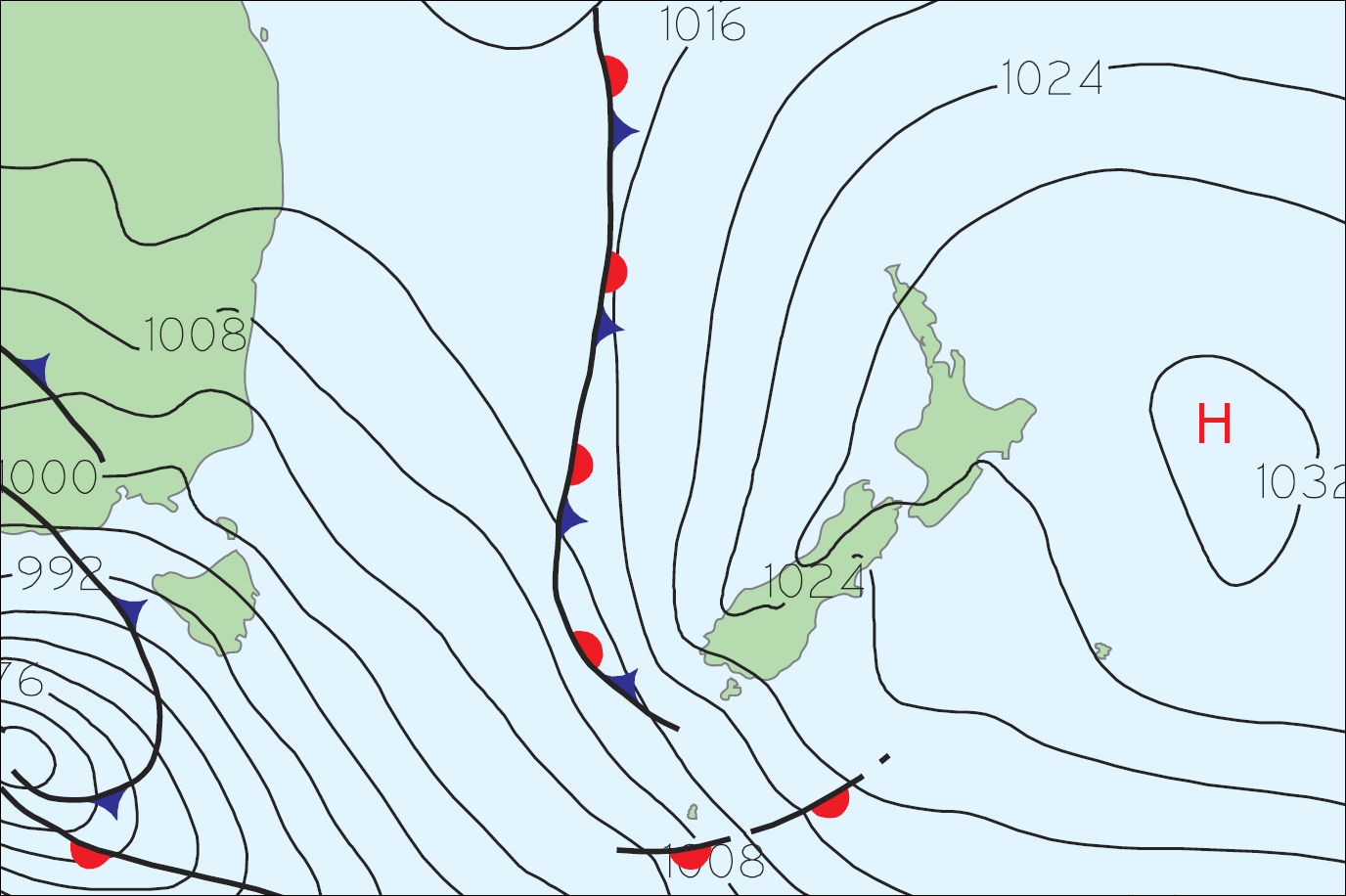 Mean Sea Level Pressure Analysis at 6am Tuesday