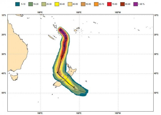 A Tropical Cyclone track ensemble probability plot