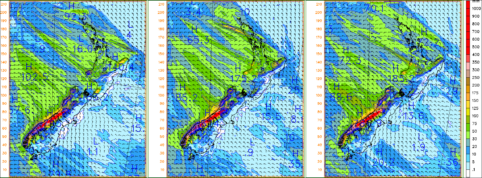 Mesoscale model accumulated rainfall to midday Friday