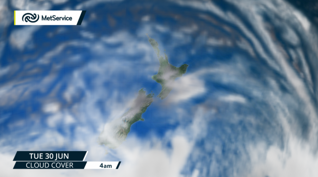 Forecast cloud cover from Monday 29 June—find the latest forecasts on MetService.com.