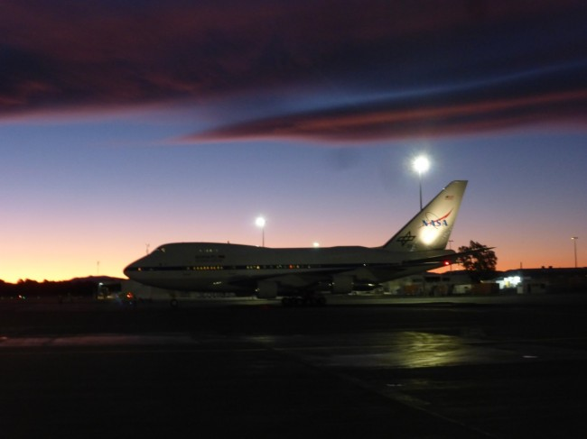 SOFIA sitting on the runway at Christchurch Airport beneathe a stunning Canterbury Sunset. Photo courtesy of NASA.