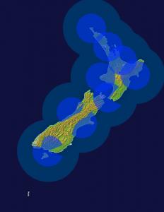 coverage of MetService radars in NZ