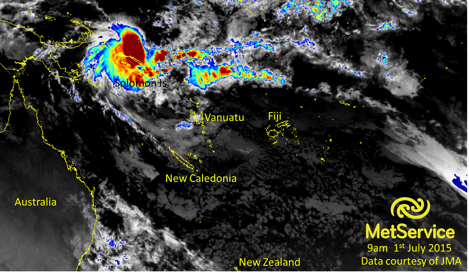 Enhanced infra-red satellite image showing TC Raquel just to the north of the Solomon Islands