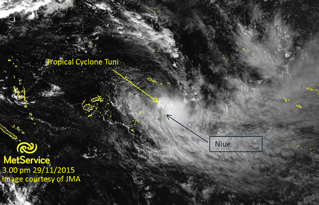 Visible satellite image at 3.00pm 29 November 2015 courtesy of JMA