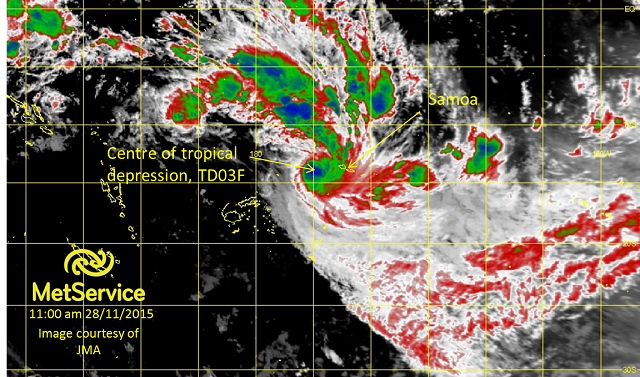 Infrared satellite image at 11.00am 28 November 2015 courtesy of JMA. Higher cloud tops are blue and green indicating areas of heaviest rainfall.