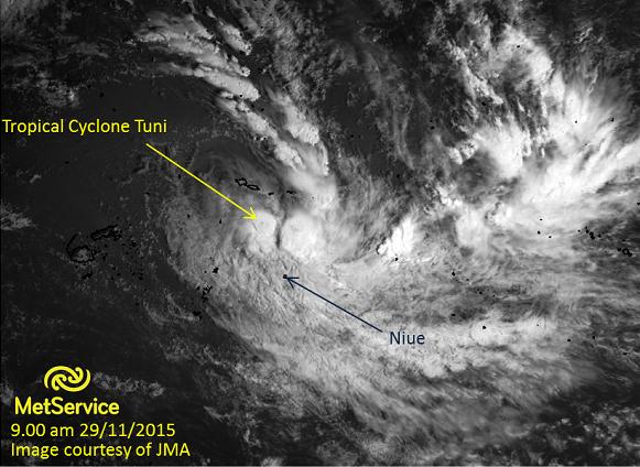 Visible satellite image at 9.00am 29 November 2015 courtesy of JMA