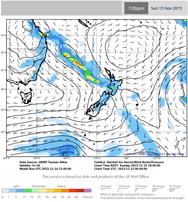 MetService rain model showing the amount of rain forecast to fall in the six hours from 7am to 7pm on Sunday 15 November 2015