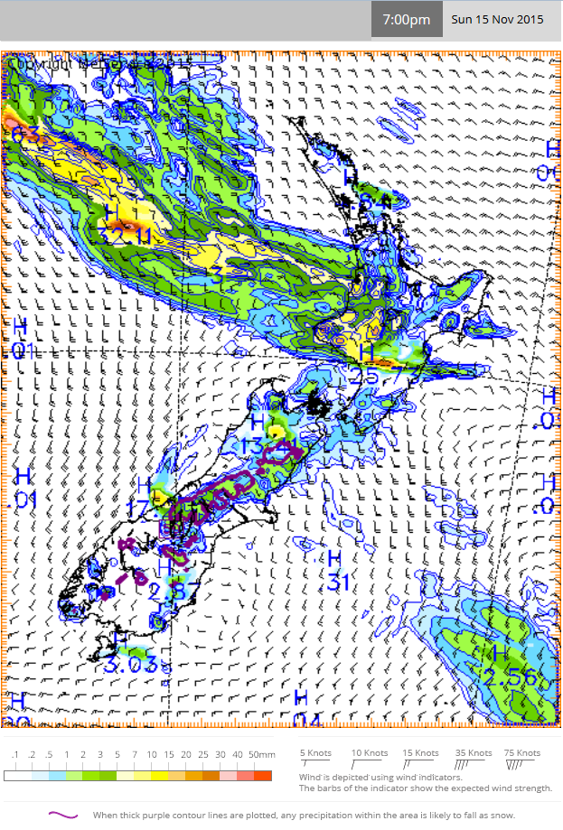 MetService computer-generated rain model showing the amount of rain forecast to fall in the three hours from 4pm to 7pm on Sunday 15 November 2015
